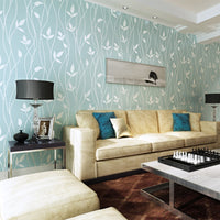 Pastel Textured Stripe Floral Leaf Pattern Wallpaper