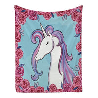 Cute Cartoon Unicorn Face Fleece Throw Blanket