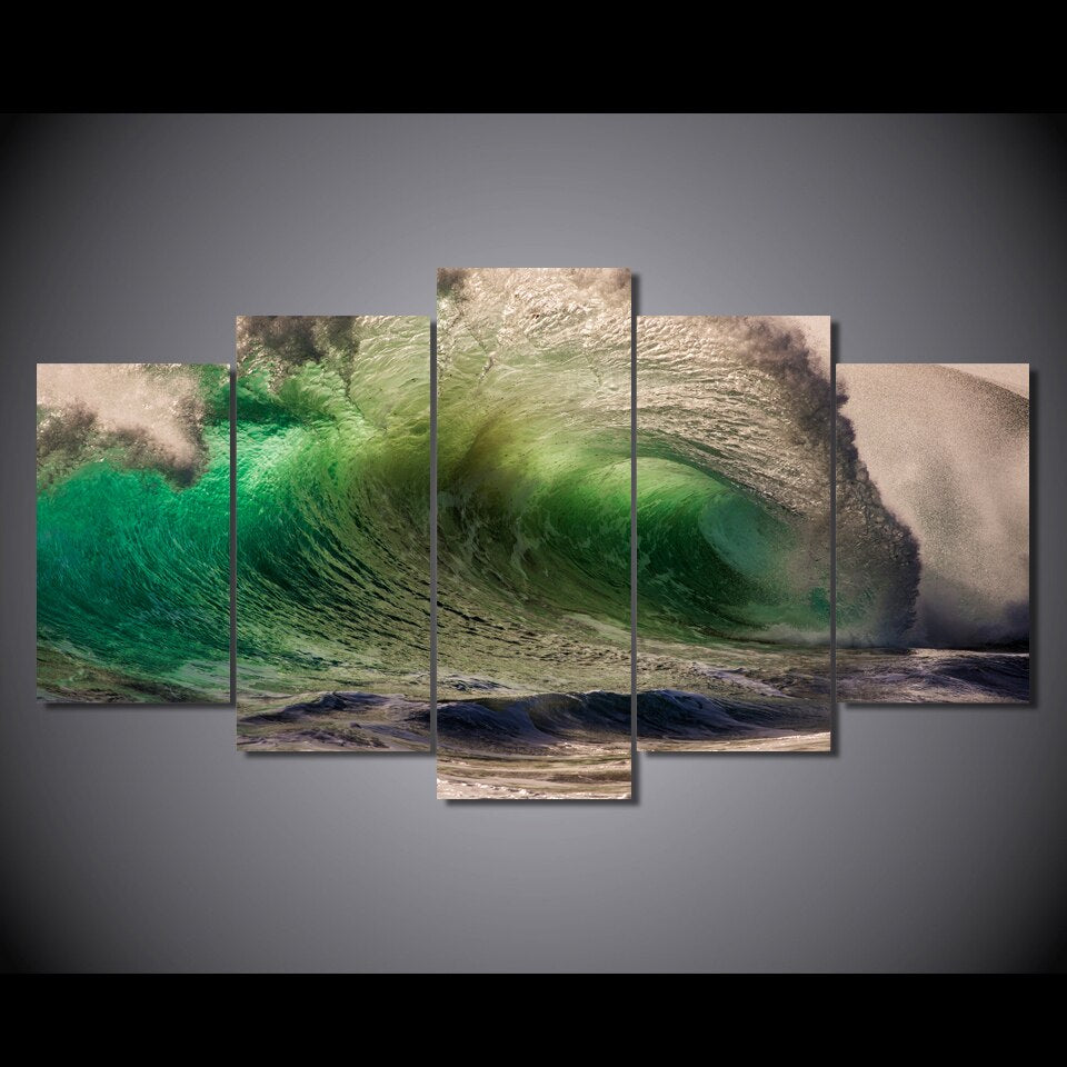 5-Piece Green Ocean Wave Print Canvas Wall Art
