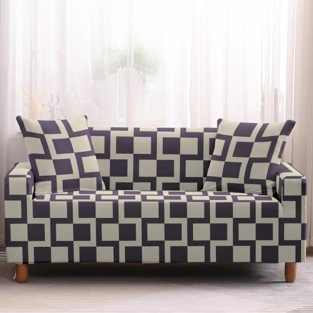 White / Purple Gray Geometric Square Pattern Sofa Couch Cover