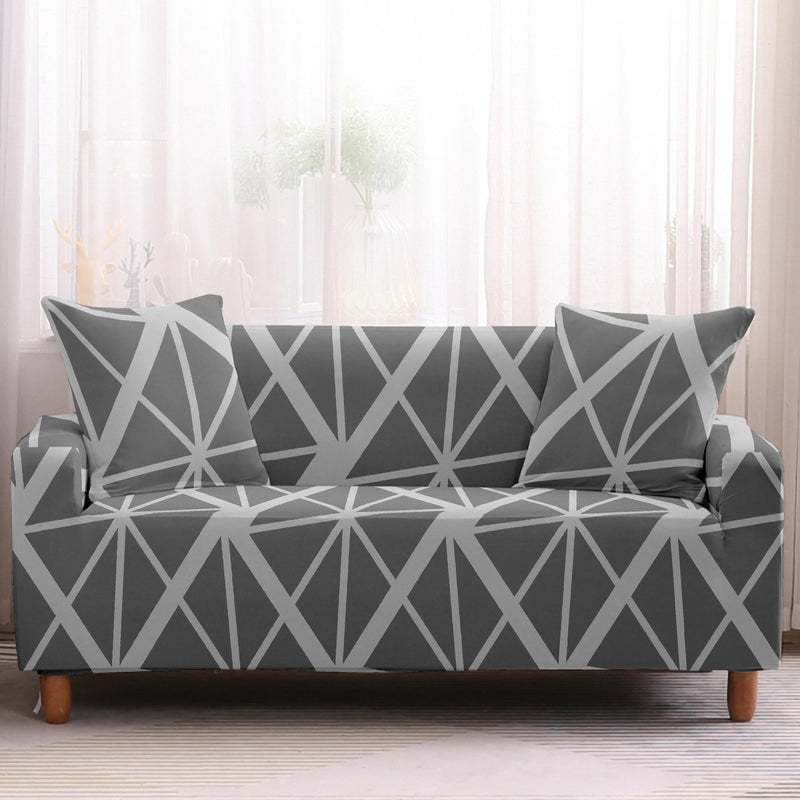 Abstract Gray Geometric Stripe Pattern Sofa Couch Cover