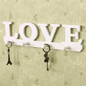 White Wood Love Shape Key Holder Rack