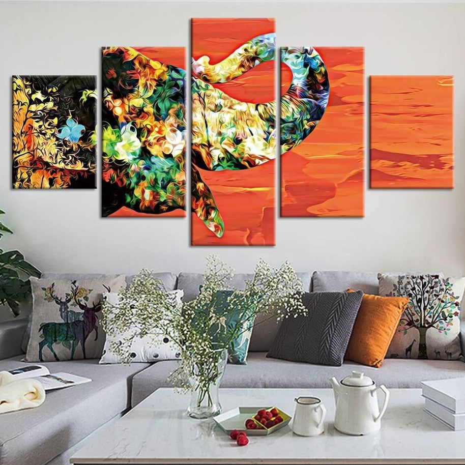 5-Piece Multi-Color Abstract Desert Elephant Canvas Wall Art