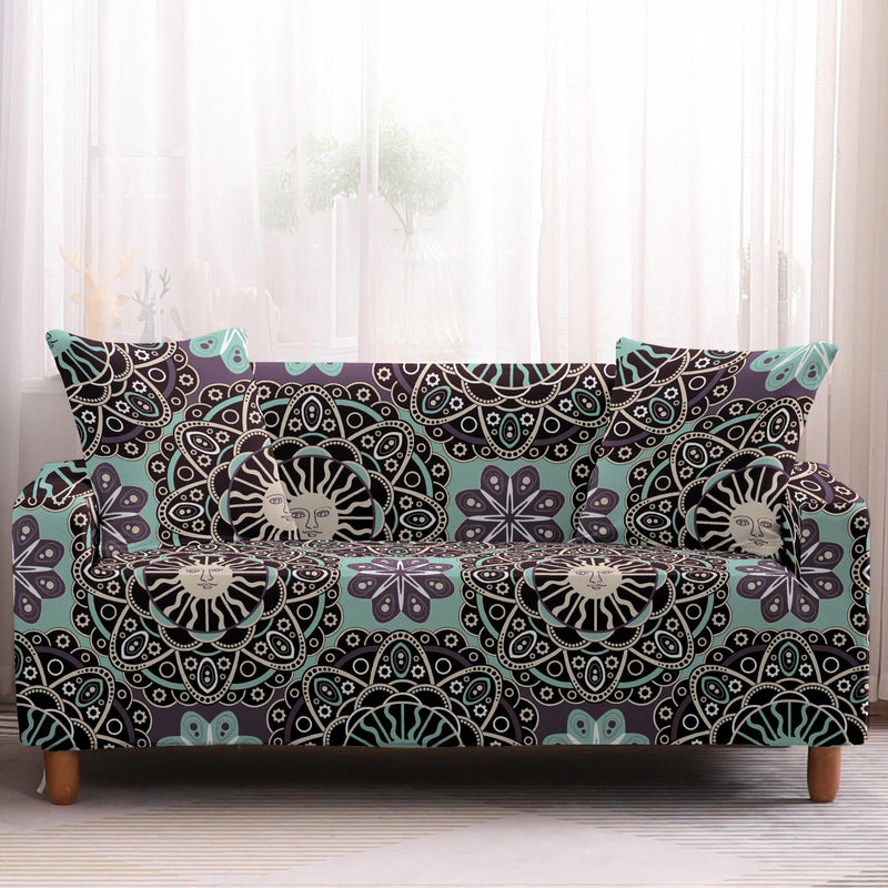 Black / Teal Boho Sun Medallion Pattern Sofa Couch Cover
