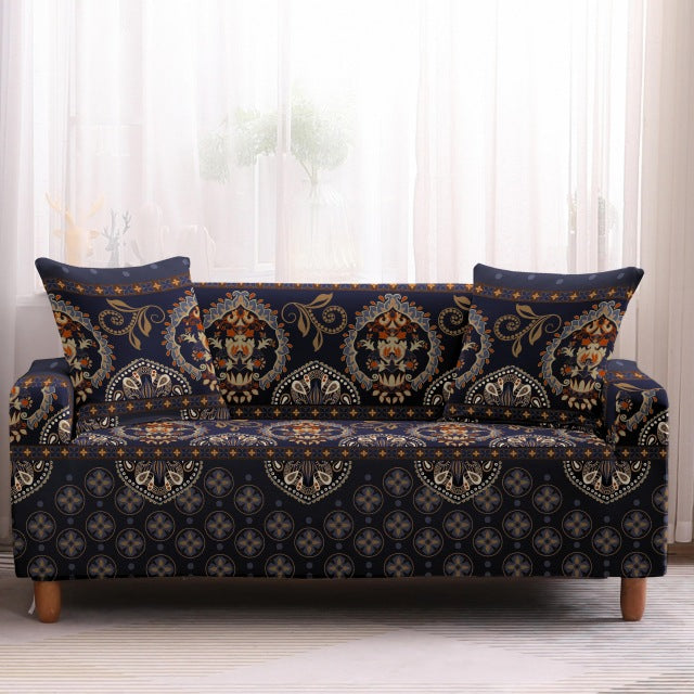 Blue Multi-Color Bohemian Ethnic Pattern Sofa Couch Cover