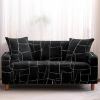 Black Interlocking Stone Rock Pattern Sofa Couch Cover