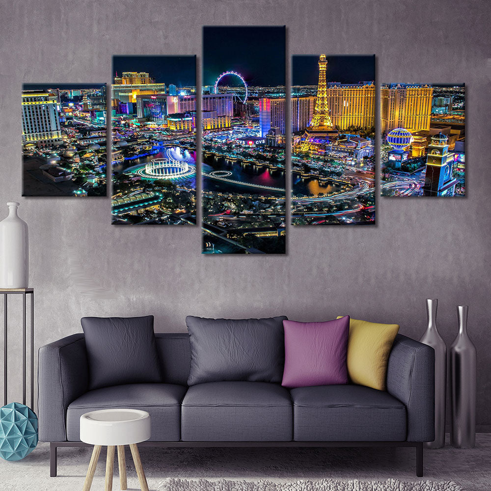 5-Piece Colorful Las Vegas Strip At Night Canvas Wall Art