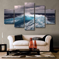 5-Piece Rough Ocean Sea Waves Canvas Wall Art