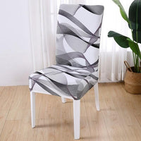 Black & White Abstract Wave Pattern Dining Chair Cover