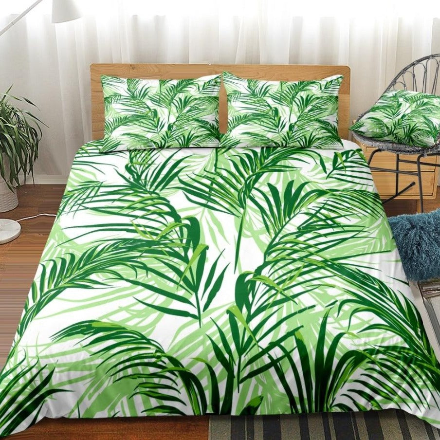 2/3-Piece Green Tropical Palm Fronds Duvet Cover Set