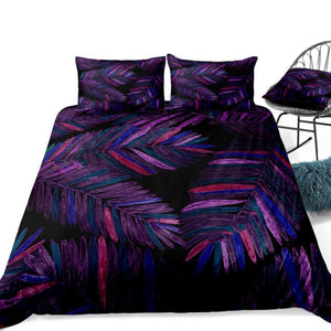 Black 2/3-Piece Purple Tropical Palm Leaf Duvet Cover Set