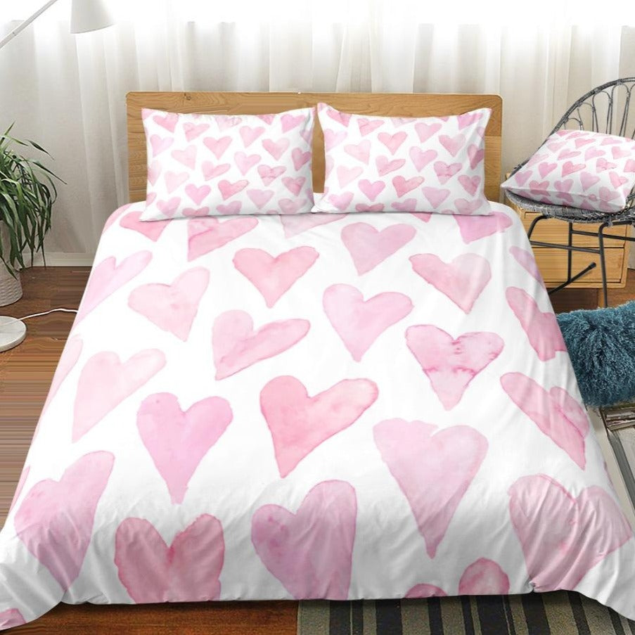 White 2/3-Piece Painted Pink Heart Pattern Duvet Cover Set