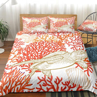 White 2/3-Piece Red Coral Sea Turtle Duvet Cover Set