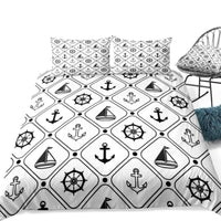2/3-Piece Black & White Nautical Symbols Duvet Cover Set