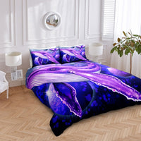 2/3-Piece Cosmic Purple Blue Whale Duvet Cover Set