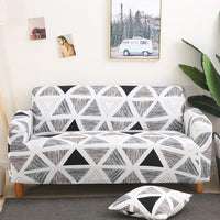 Black & White Abstract Triangle Pattern Sofa Couch Cover