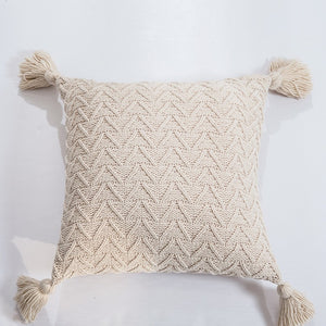 "18"" Knitted Chenille Throw Pillow Cover w/ Tassels"