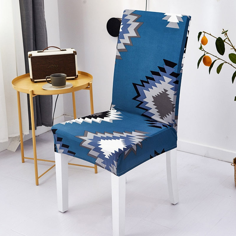 Blue Geometric Native / Aztec Pattern Dining Chair Cover