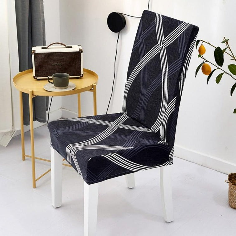 Dark Navy Abstract Curved Stripe Dining Chair Cover