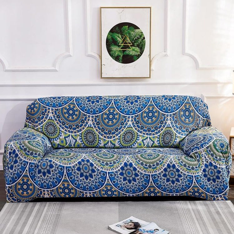 Blue / Green Bohemian Mandala Pattern Sofa Couch Cover