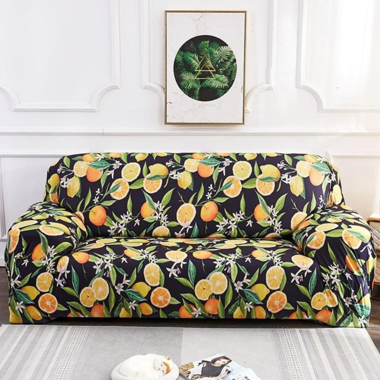 Black / Yellow Citrus Fruit Pattern Sofa Couch Cover