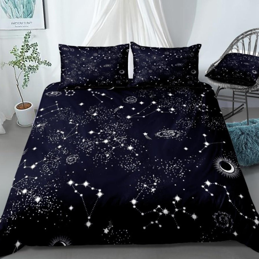 2/3-Piece Black Night Sky Space Constellation Duvet Cover Set