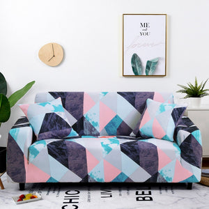 Pink / Blue Geometric Triangle Pattern Sofa Couch Cover