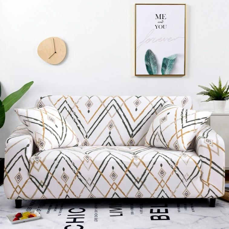 Ivory White Bohemian Tribal Pattern Sofa Couch Cover