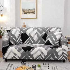 Black, White & Gray Geometric Arrow Pattern Sofa Couch Cover