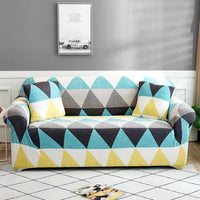 Teal / Yellow Geometric Triangle Pattern Sofa Couch Cover