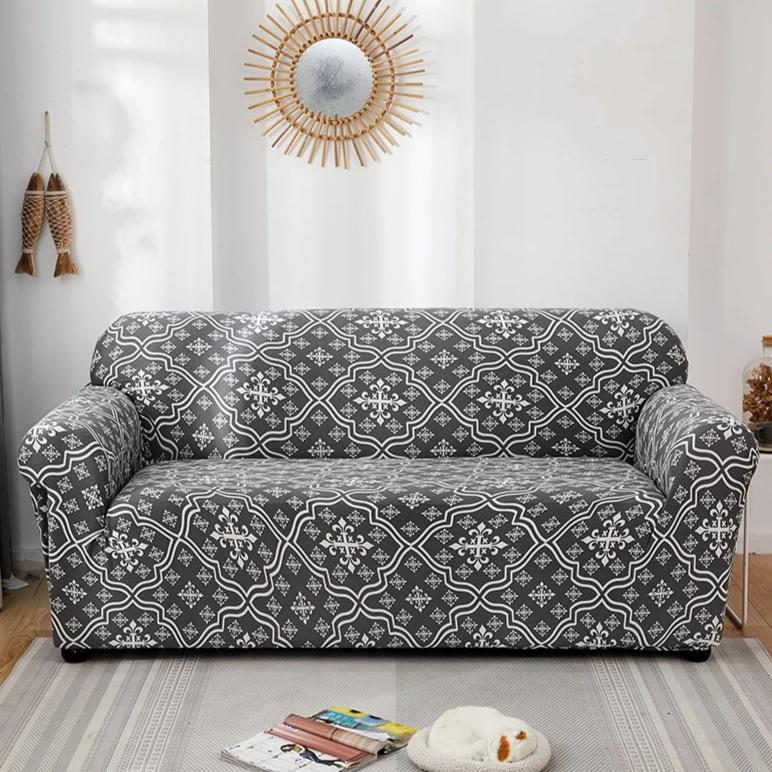 Gray & White Floral Medallion Pattern Sofa Couch Cover
