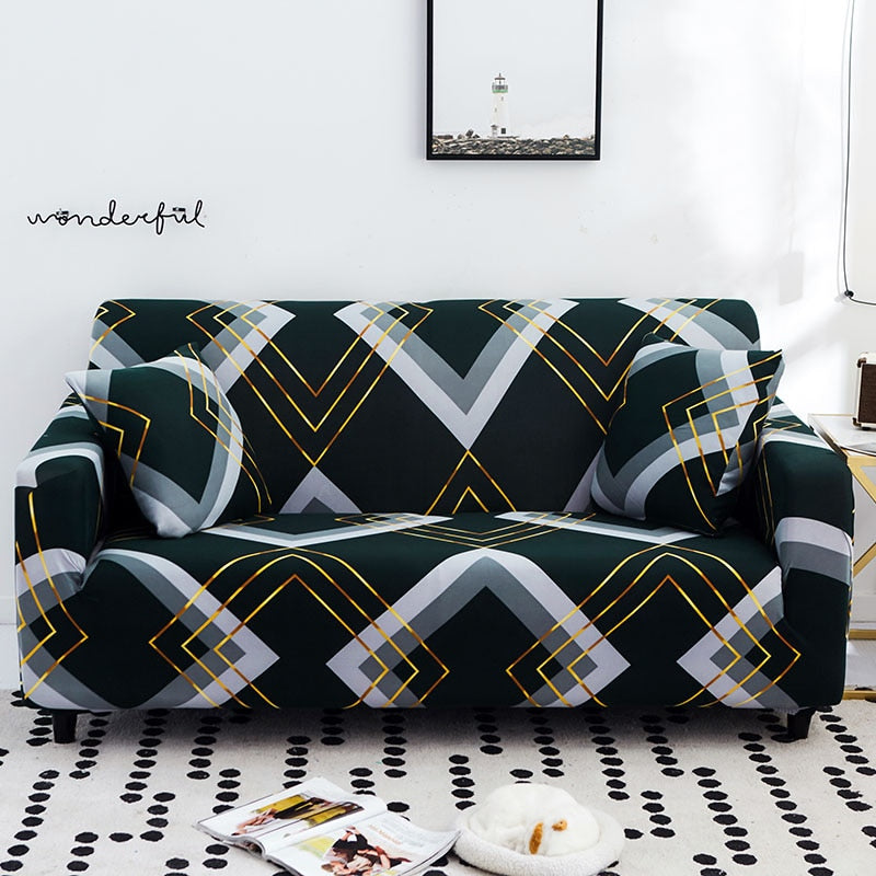 Dark Green Gold Geometric Pattern Sofa Couch Cover