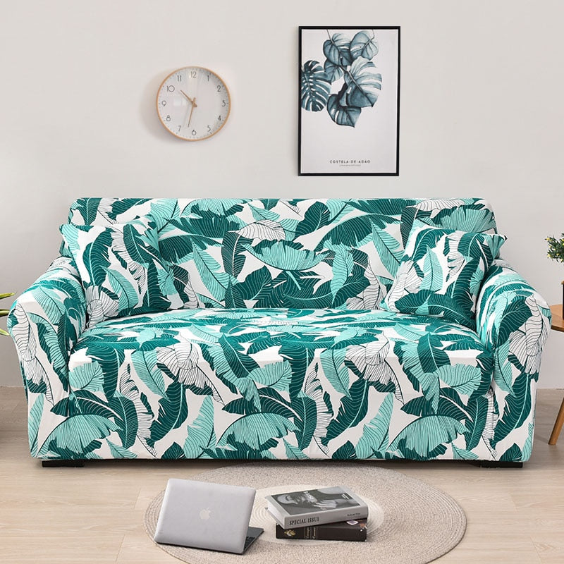 Green / White Tropical Leaf Pattern Sofa Couch Cover