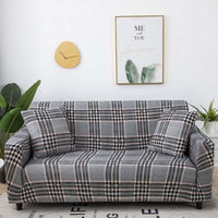 Gray Tartan Plaid Pattern Sofa Couch Cover