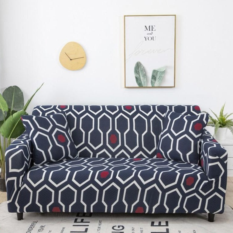 Navy Blue / White Geometric Pattern Sofa Couch Cover