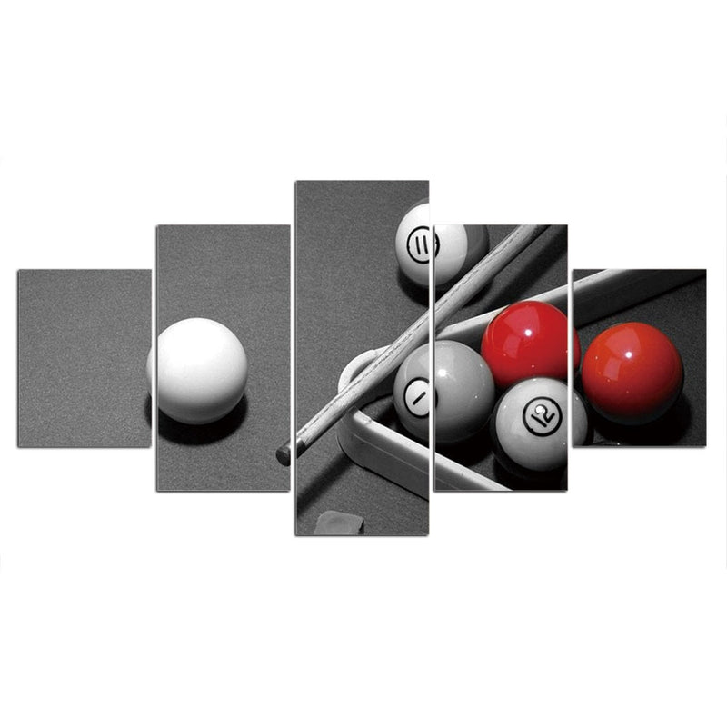 5-Piece Black, White & Red Billiard Pool Ball Canvas Wall Art