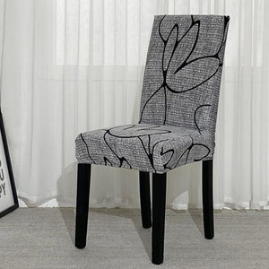 Gray Abstract Flower Pattern Dining Chair Cover