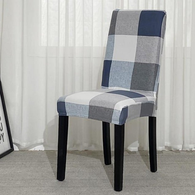 Blue / Gray Plaid Pattern Dining Chair Cover