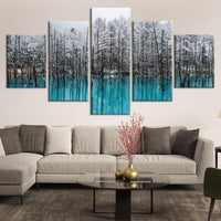 5-Piece Frozen Blue Forest Lake Canvas Wall Art