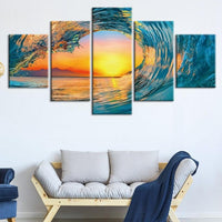 5-Piece Blue / Orange Ocean Wave Sunset Canvas Wall Art