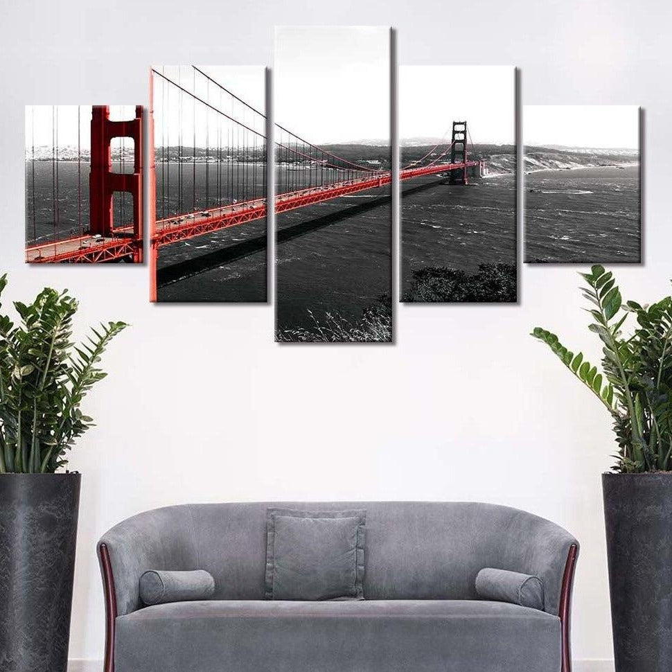 5-Piece Red San Francisco Bay Bridge Canvas Wall Art