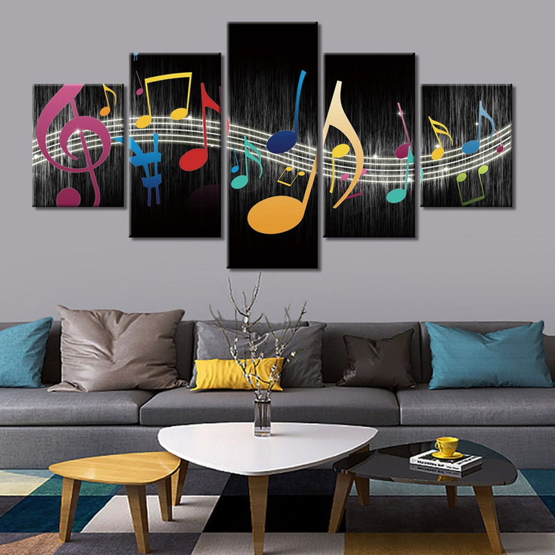 5-Piece Multi-Color Flying Musical Notes Canvas Wall Art