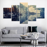 5-Piece Misty Mountain River Glacier Canvas Wall Art