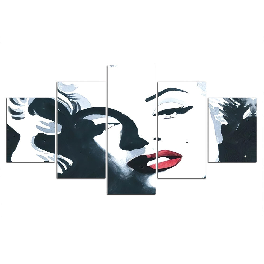 5-Piece Black & White Abstract Marilyn Monroe Canvas Wall Art