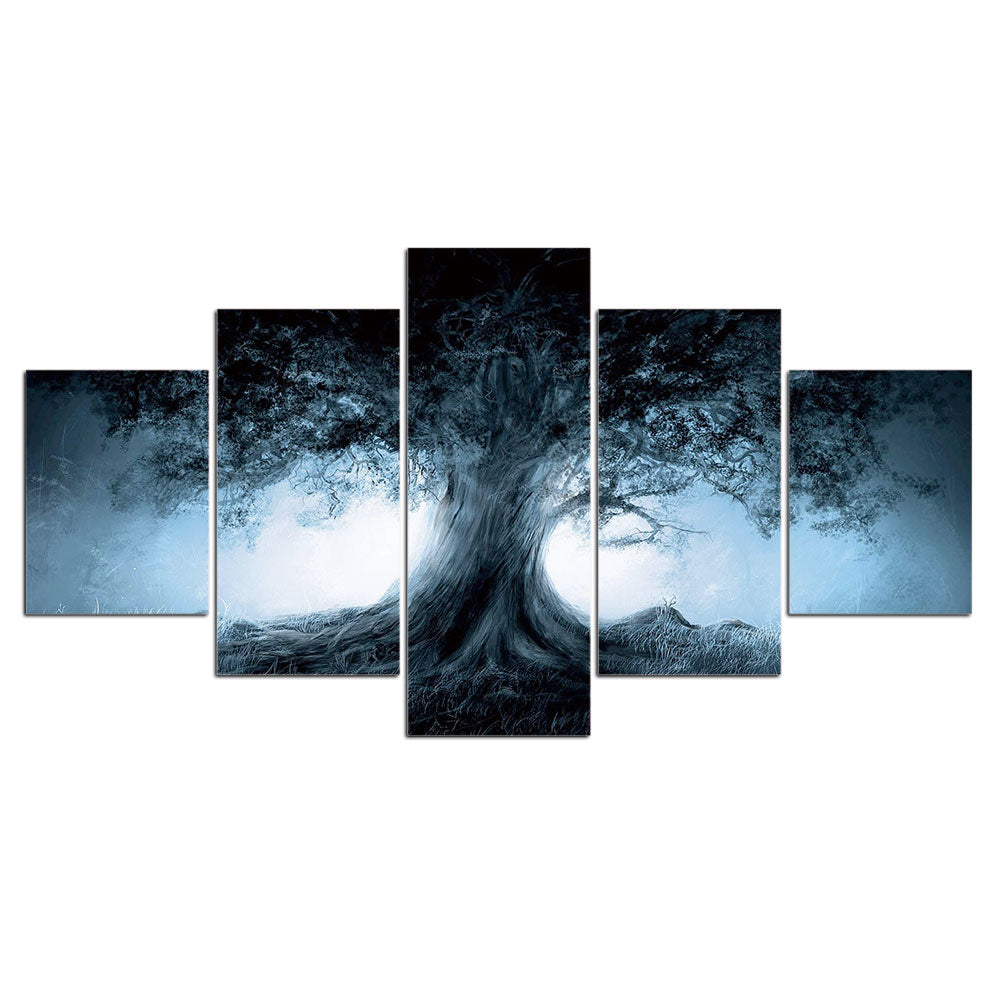 5-Piece Glowing Mystical Forest Tree Canvas Wall Art