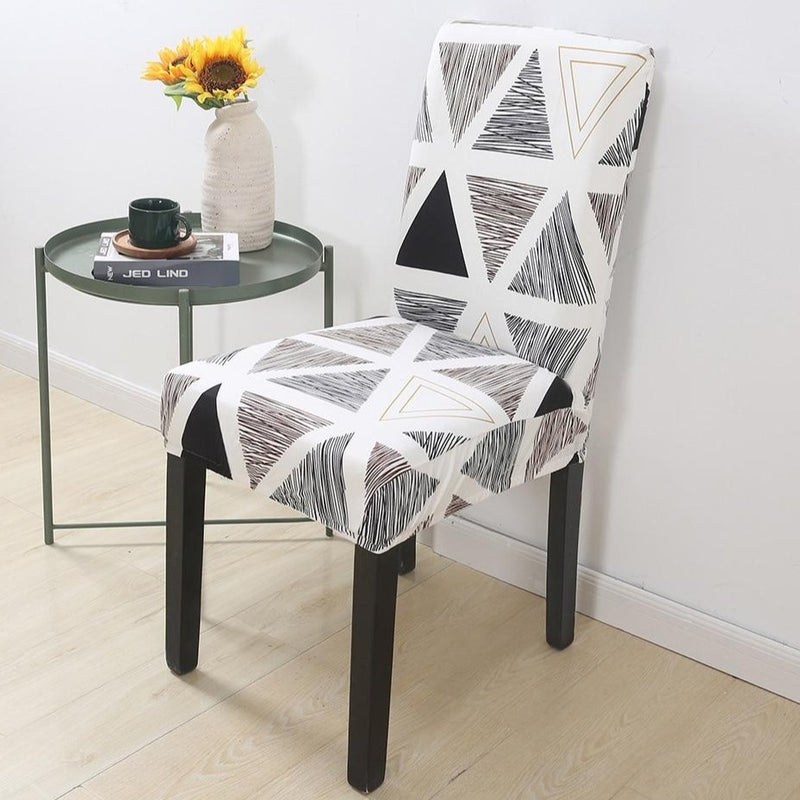 Black & White Abstract Triangle Pattern Dining Chair Cover