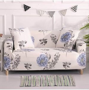Ivory White Vintage Blue Floral Sofa Couch Cover