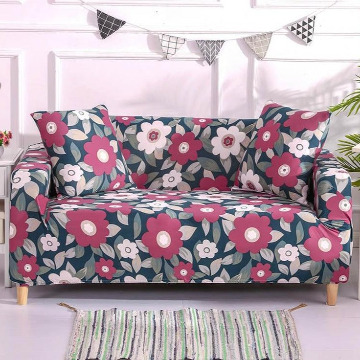 Teal / Pink Retro Floral Pattern Sofa Couch Cover
