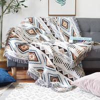 White Geometric Knitted Aztec / Native Sofa Throw Cover