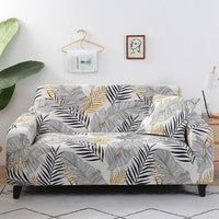 White / Gold Palm Leaf Pattern Sofa Couch Cover